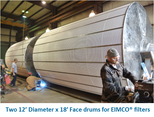 Two 12' Diameter x 18' Face drums for EIMCO® filters